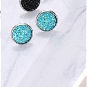 💫Coming Soon💫 Lake Blue Druzy Round StudEarrings